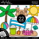 Beach Clipart - Outlined