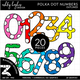 Colorful Polka Dot Numbers Clipart - Outlined