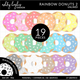 Rainbow Donuts 2 Clipart - Unlined
