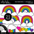 Rainbows and Hearts 1 Clipart - Outlined