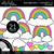 Rainbows and Hearts 3 Clipart - Outlined