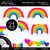 Rainbows and Hearts 1 Clipart - Unlined