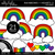 Rainbows and Hearts 2 Clipart - Outlined