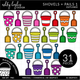 Shovels & Pails Clipart - Outlined