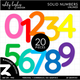 FREE Colorful Solid Numbers Clipart - Unlined
