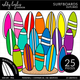 Surf Board Clipart - Outlined