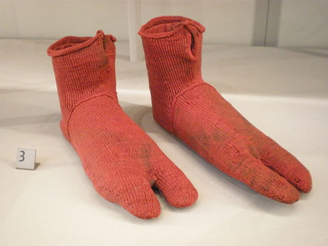 Egyptian knitted socks at the Victoria & Albert Museum