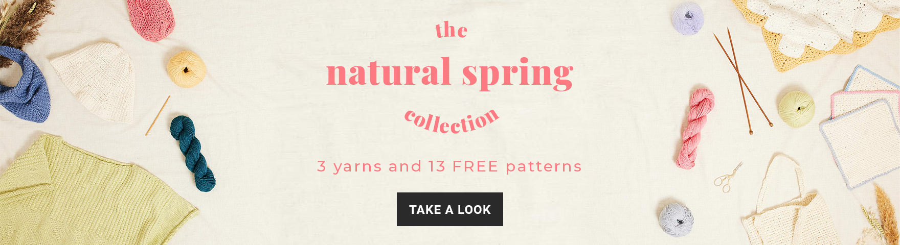 Shop the Natural Spring Collection yarns and free knitting and crochet patterns