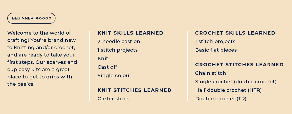 Beginner knitting and crochet skills and techniques