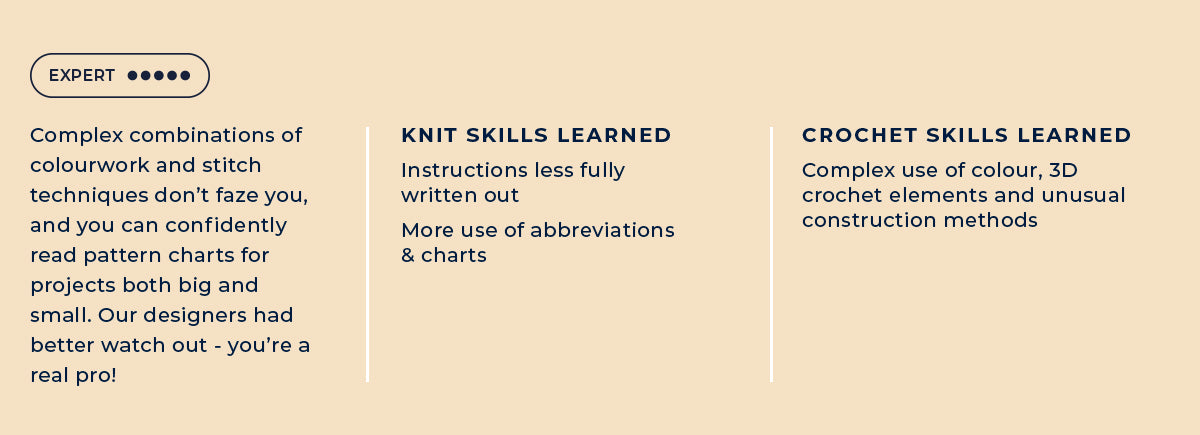Knitting and crochet skills you'll learn with our Expert kits and patterns