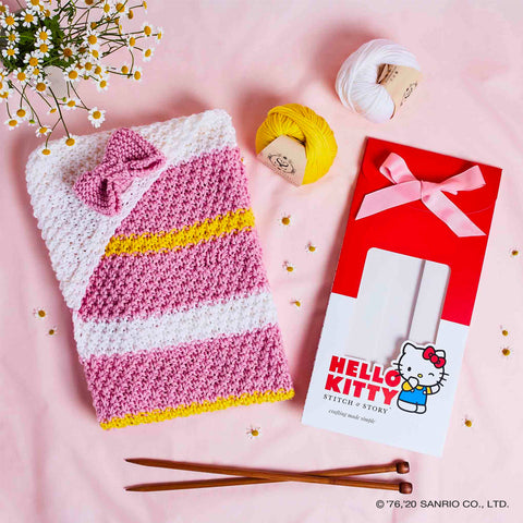 Shop the Hello Kitty Hooded Blankie knitting kit at Stitch & Story
