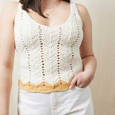 Chevron Spring Camisole free crochet pattern for summer
