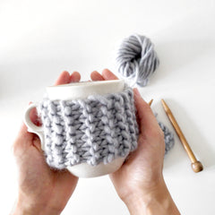 Shop the Cup Cosy mini knitting kit at Stitch & Story