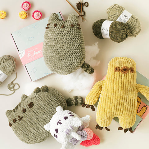 Shop the Pusheen and Sloth knitting and crochet kits at Stitch & Story