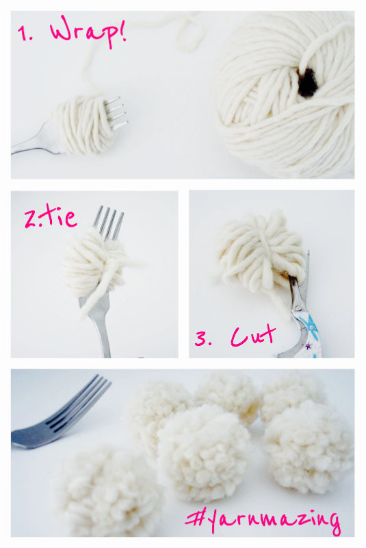 how to make pom pom with fork and yarn