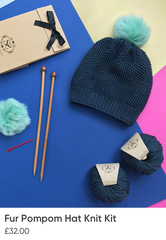 Fur Pompom Hat Knitting Kit