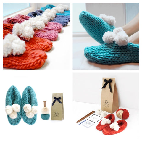 LOLA POM SLIPPERS KNITTING KIT