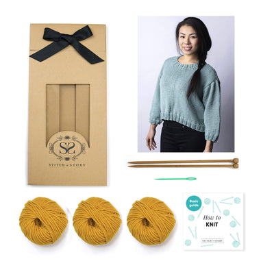 Cara Mid-Sleeve Sweater Knitting Kit