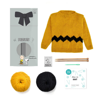 Peanuts: Charlie Brown Kids Sweater Knitting Kit