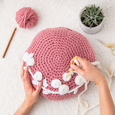 PDF Crochet Pattern: Embroidered Crochet Circular Cushion