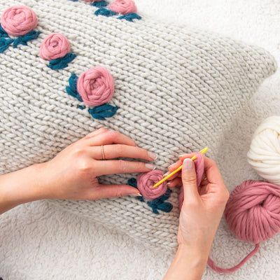 PDF Knitting Pattern: Embroidered Knitted Rectangular Cushion