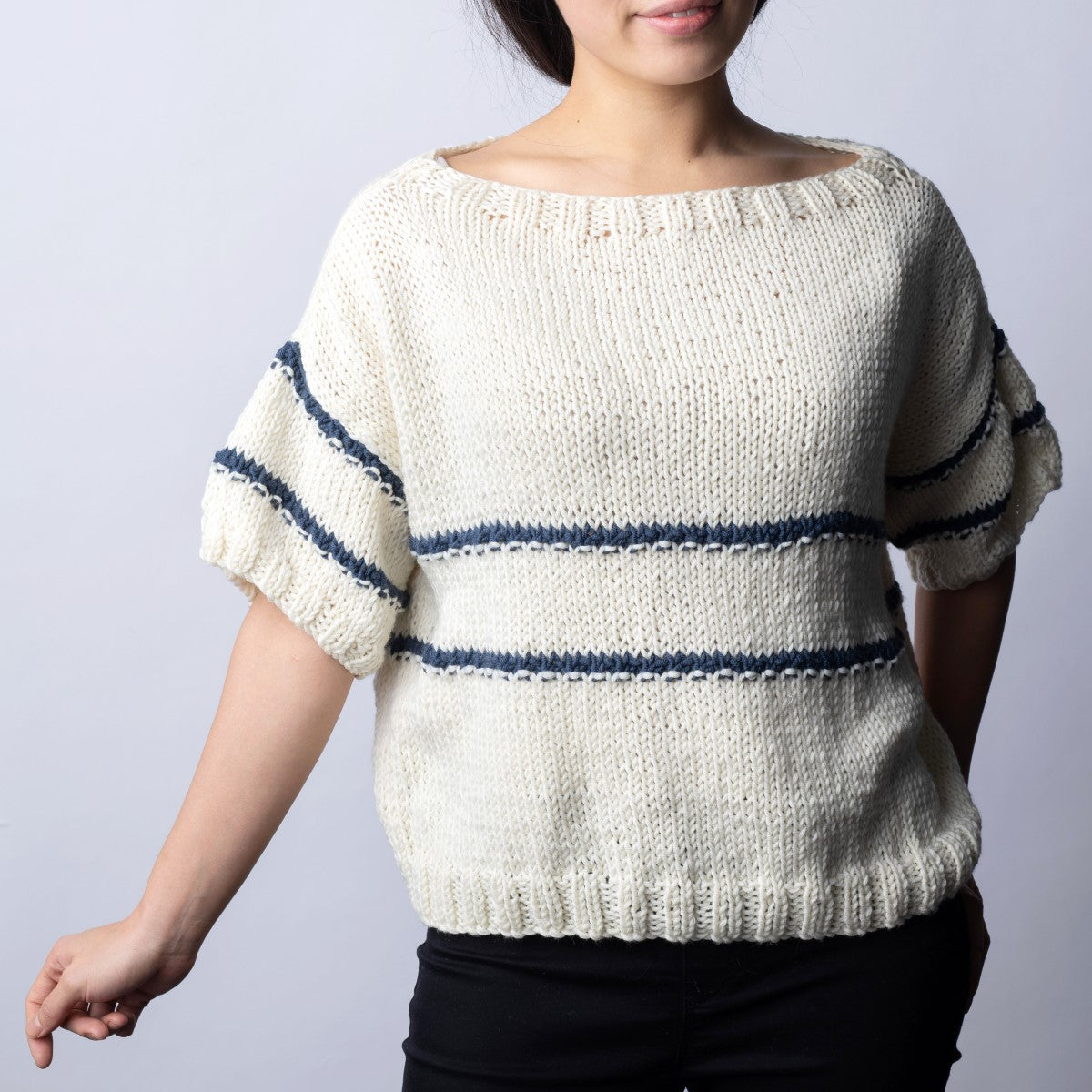 Striped Boat Neck Top Knitting Kit