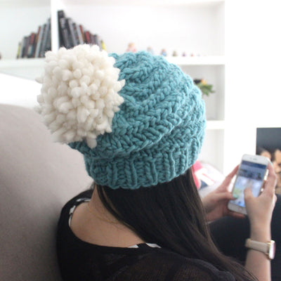 Luca Pom Hat Knitting Kit - Ivory White Pompom