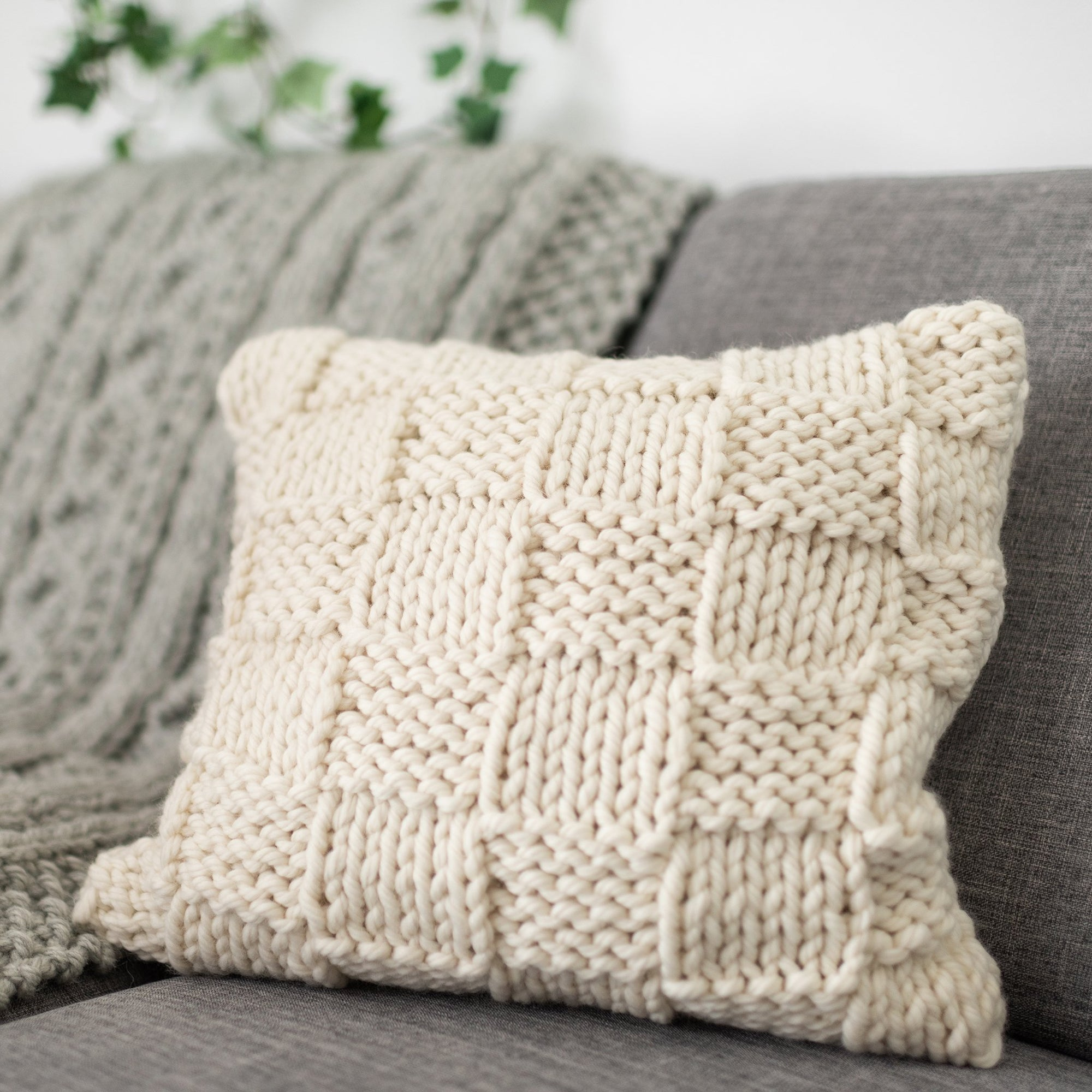Free PDF Knitting Pattern: Lazy Basketweave Cushion