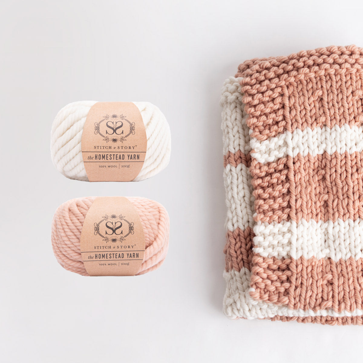 The Homestead Yarn Bundle for Stripey Settee Throw