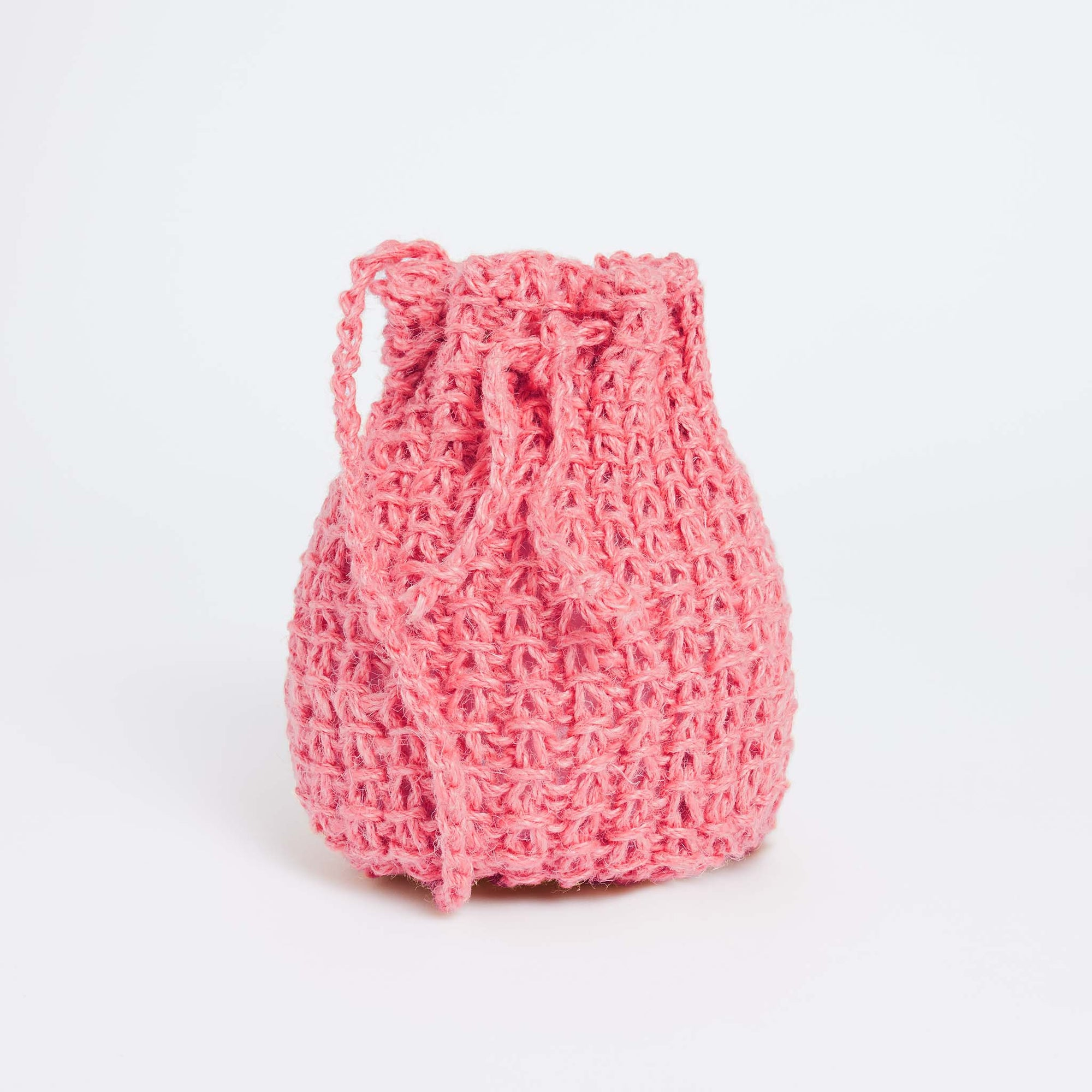 Free PDF Knitting Pattern: Jute Drawstring Bag