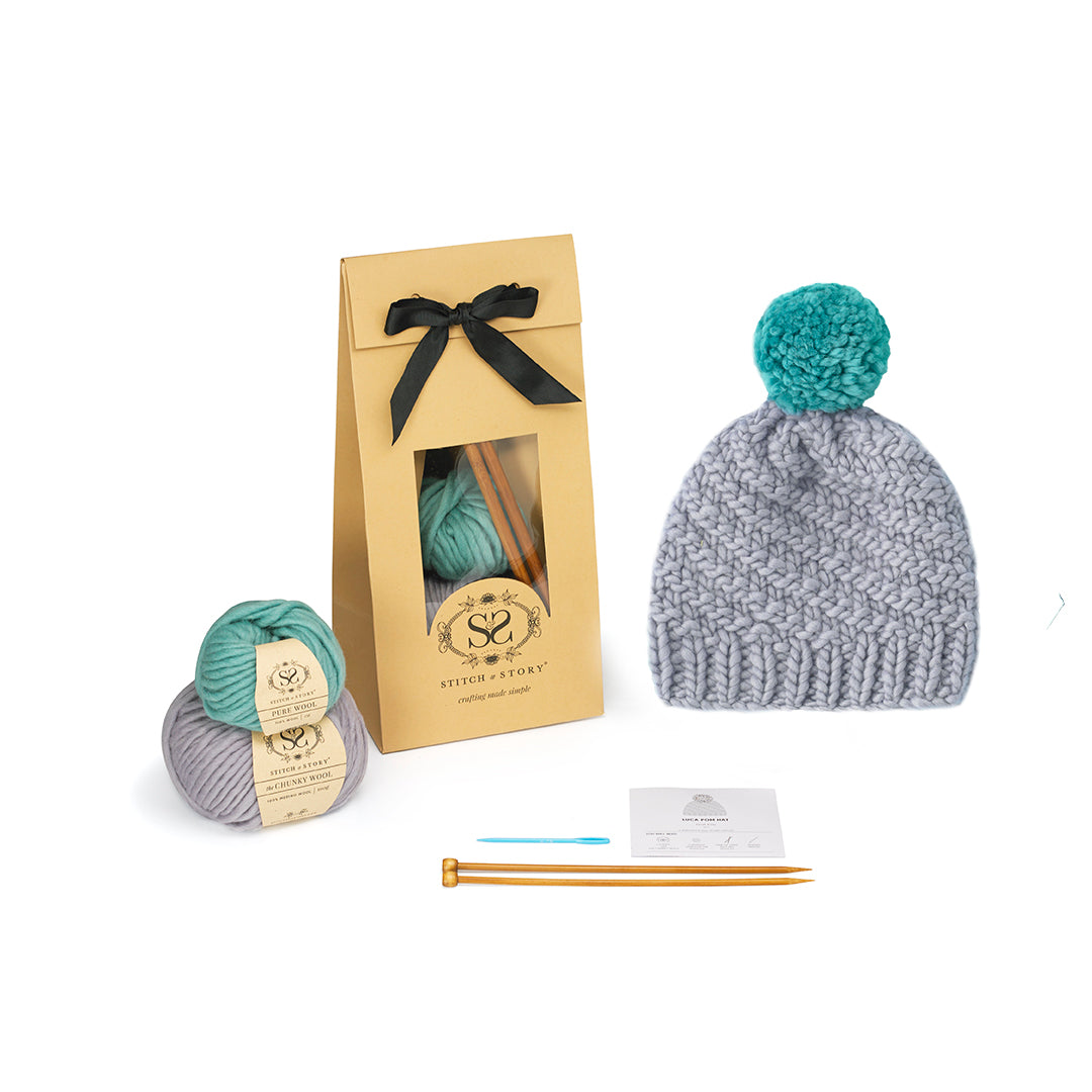 Luca Pom Hat Knitting Kit - Stone Teal Pompom