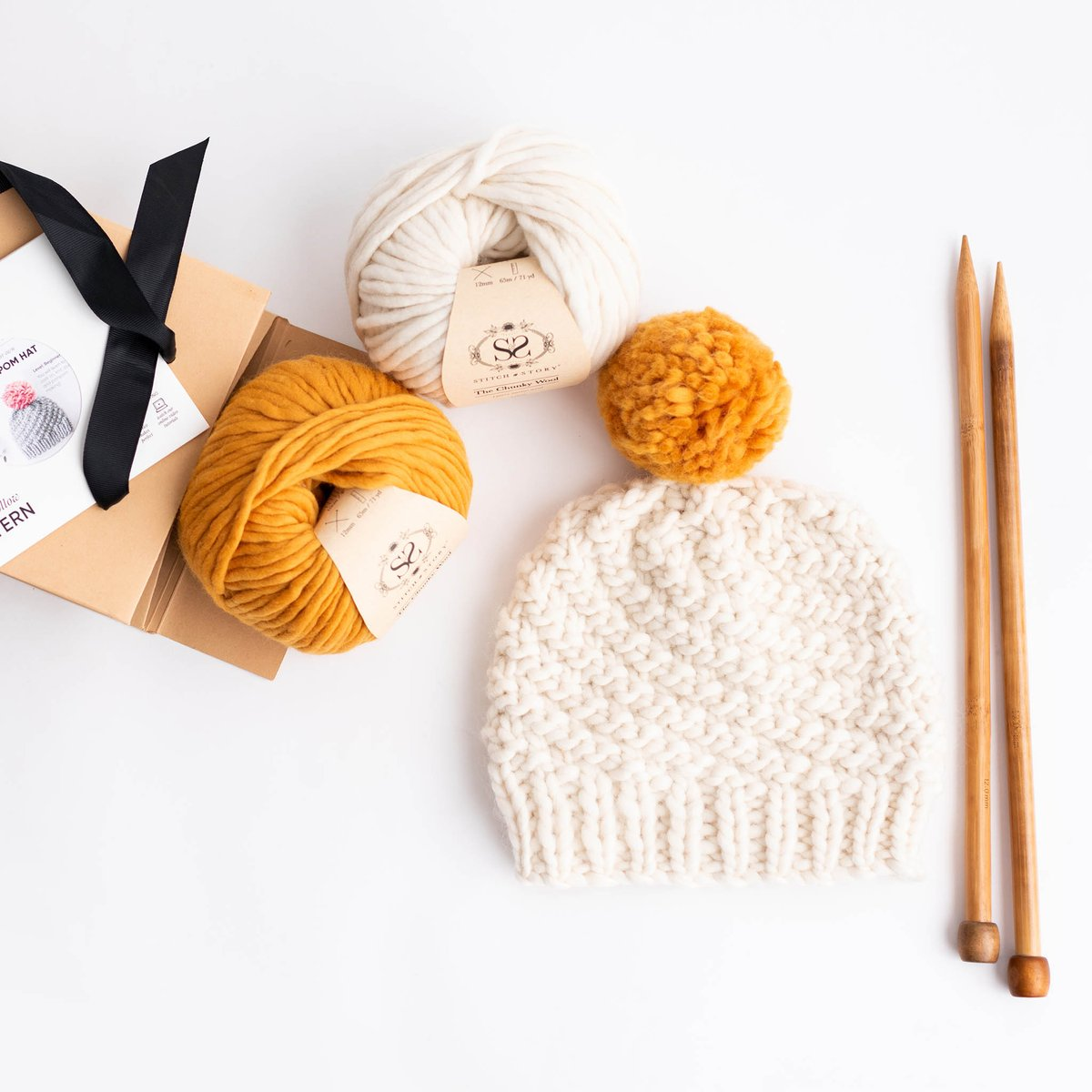 Luca Pom Hat Knitting Kit - Mustard Yellow Pompom