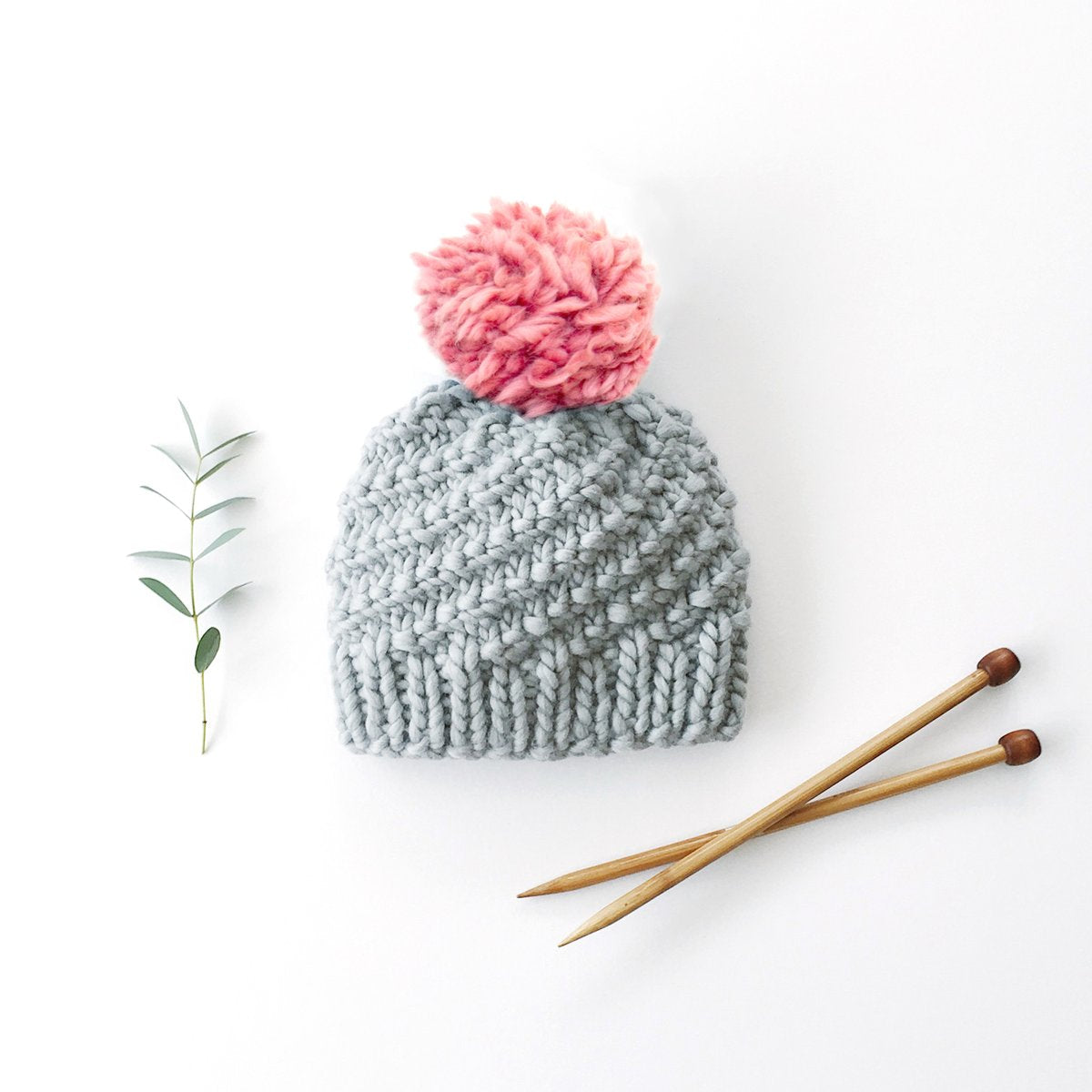 Luca Pom Hat Knitting Kit - Dust Pink Pompom
