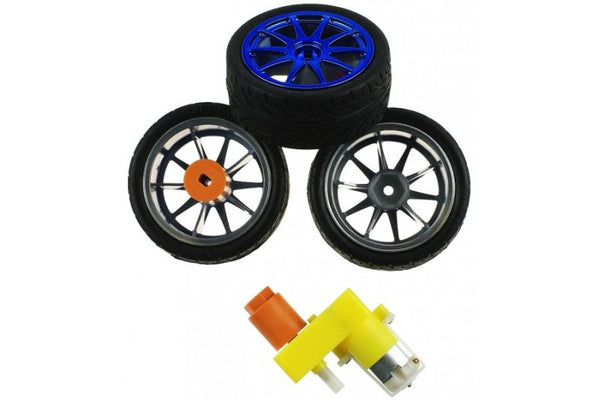 65mm Metallic Wheels for Robot Car (Pair)
