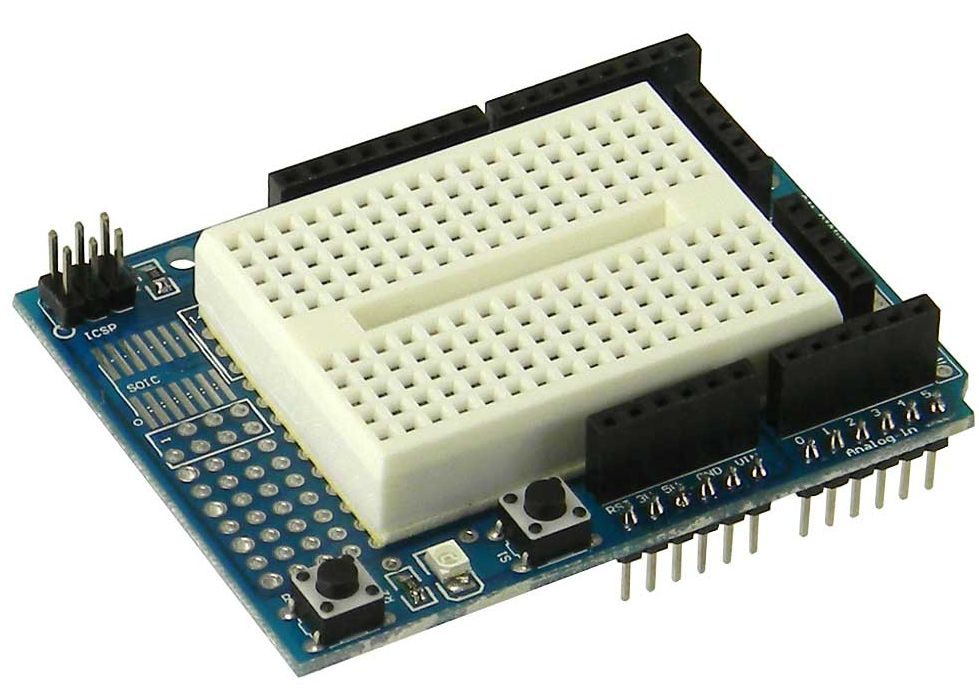 Prototype Shield with Mini Breadboard for Arduino
