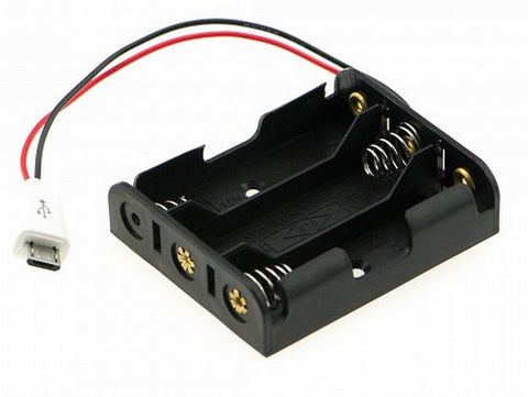 3 x AA Battery Holder with Micro-USB Connector