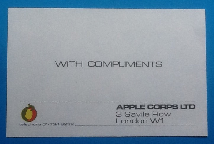 Beatles Apple Corps Original Compliments Slip