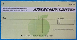 Beatles Original Apple Corps Limited Blank Cheque Check
