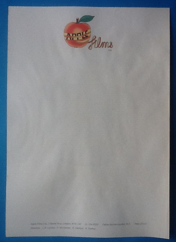 Beatles Original Apple Films Notepaper