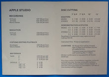 Load image into Gallery viewer, Beatles Original Rare Apple Studios Advertising Rates and Costs Flyer Handbill Savile Row