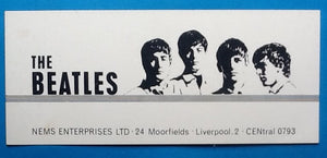 Beatles Rare Business Card NEMS Enterprises Liverpool Address