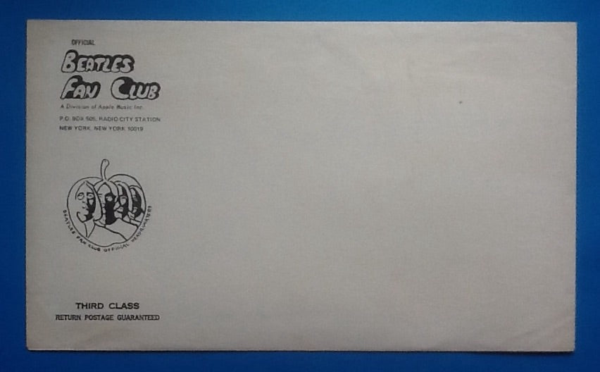 Beatles Original Unused Fan Club Apple Records Cube with Mailing Envelope
