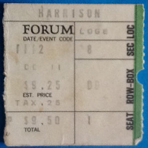 Beatles George Harrison Original Used Concert Ticket Forum Los Angeles 1974