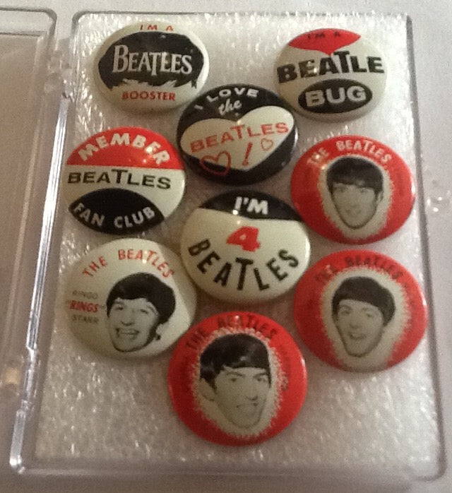 Beatles Original Complete Set of 9 Green Back Co Gumball Pinback Badges Buttons