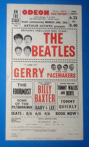 Beatles Handbill Flyer Southport 1963