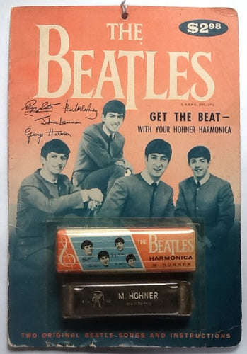 Beatles Original Unopened Still Sealed Harmonica in Box on Original Display  Fold Out Card