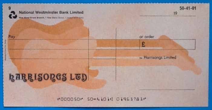 Beatles Original Harrisongs Blank Cheque Check