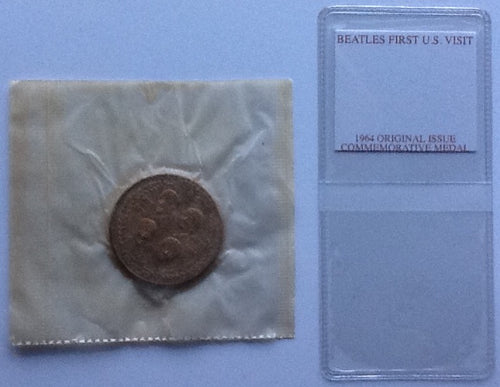 Beatles Original Still Sealed Commemorative 1964 Tour Medal Coin