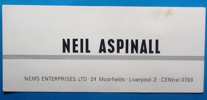 Beatles Neil Aspinall Original NEMS Business card 1963