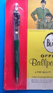 Beatles Official Ballpoint Pen on Original Backing Card